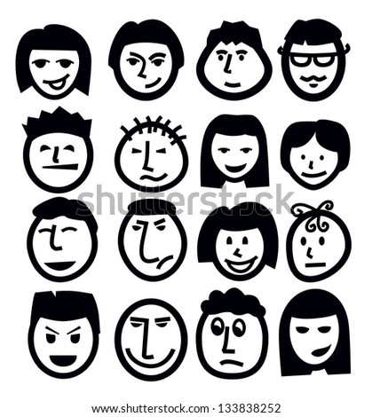 vector black face icon set on