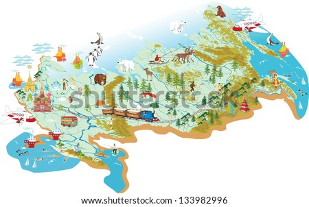 cartoon vector map of russia