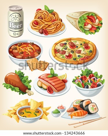 set of traditional food icons