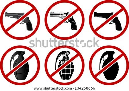 no pistols and grenades vector