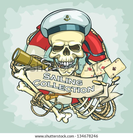 sailor skull logo design