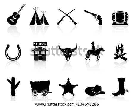 wild west   cowboys icons set
