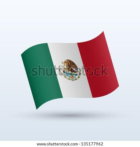 mexico flag waving form on gray