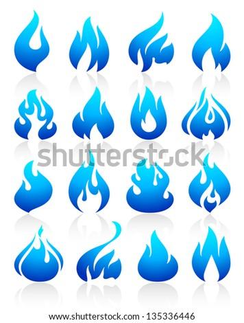 fire flames blue  set icons