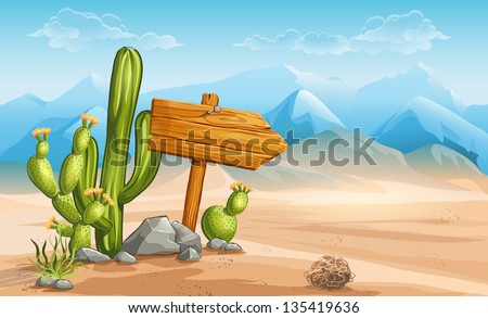 a wooden sign in the desert