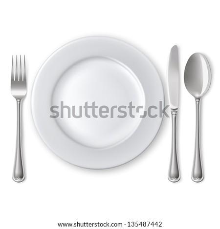 empty plate with spoon  knife