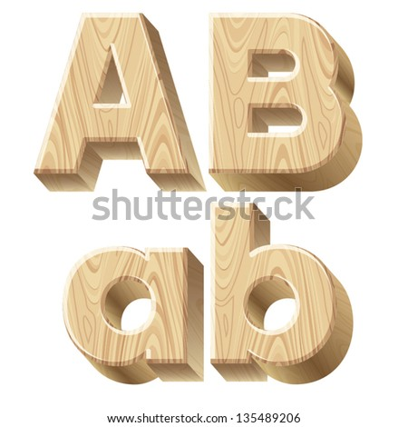 Vector images illustrations and cliparts three for 3d wooden alphabet letters
