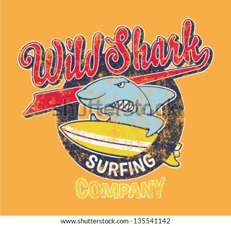 surfing shark   vector artwork