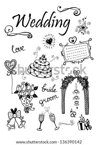 doodle wedding elements may be
