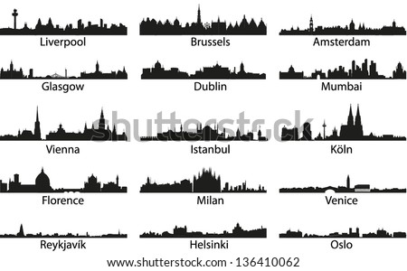 vector silhouettes of the cities
