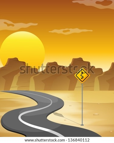 illustration of a curved road