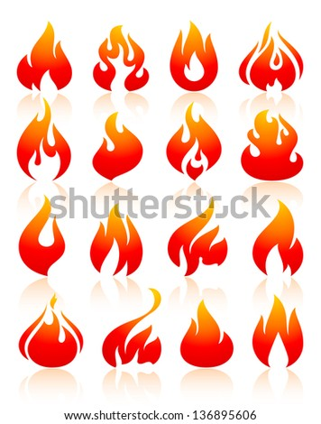 flame reddish  set icons with