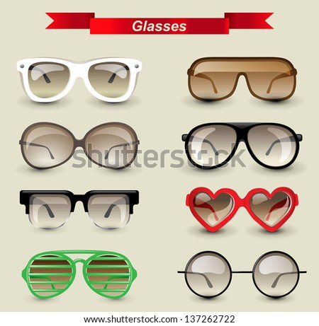 8 highly detailed glasses icons