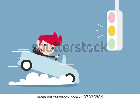 businessman breaking car with