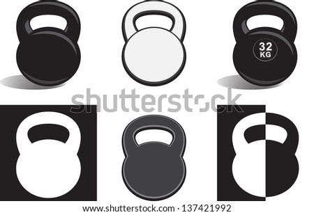 monochrome kettle bells on