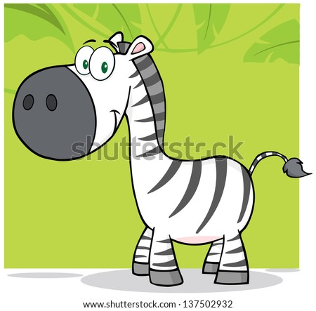 smiling zebra cartoon mascot