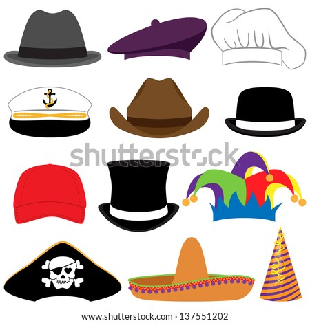 vector collection of hats or