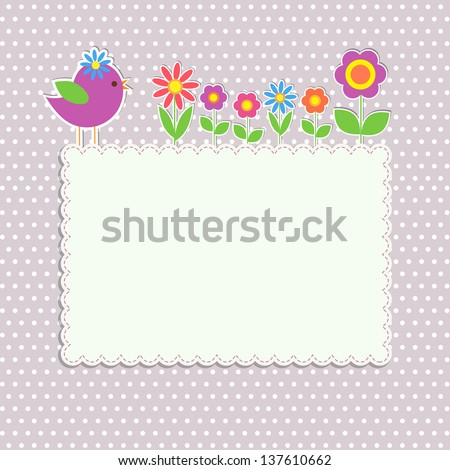 frame with bird and flowers