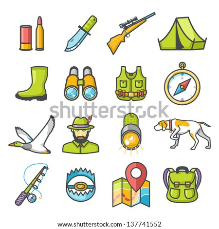 hunting icons set happy series