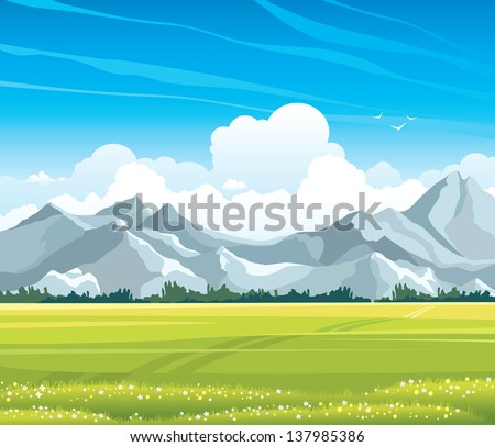 summer landscape with green