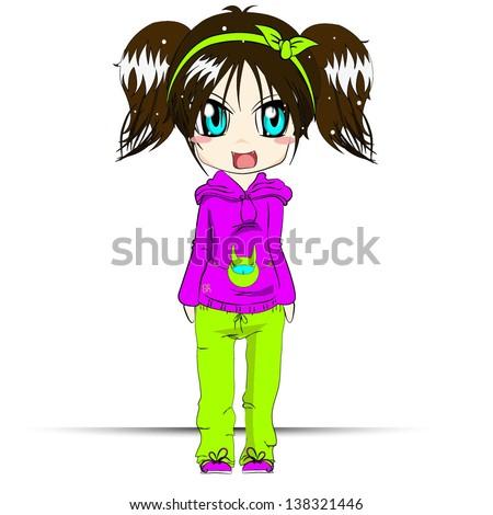cute anime girl cartoon