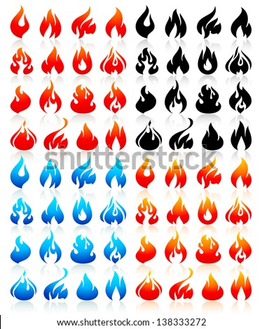 fire flames  big set icons