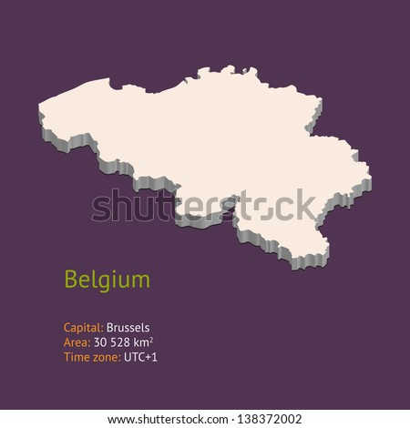 3d map of belgium isolated on