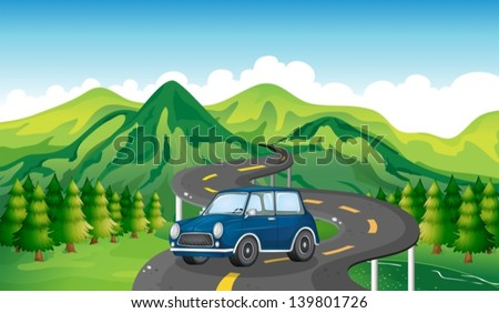 illustration of a blue car and