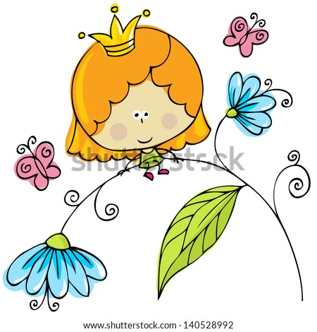 hand drawn little fairy