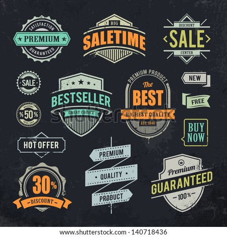 grunge sale emblems set of