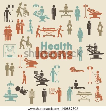 health icons over cream
