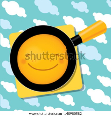 smiling pancake on a pan for