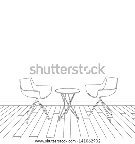 sketch of modern interior table