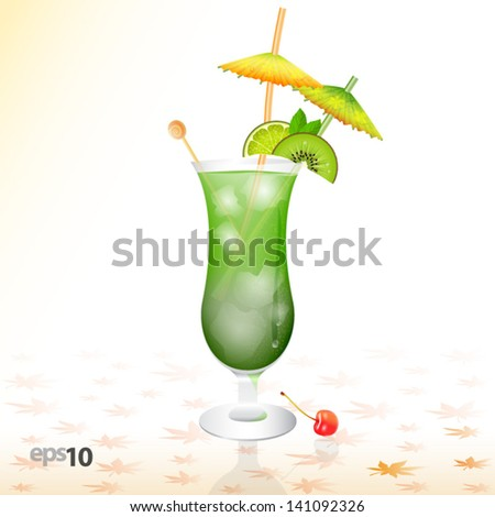 tropical cocktail in glass with