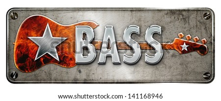 chrome metallic 'bass' text