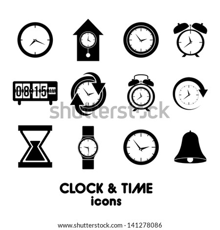 clock and time icons over white