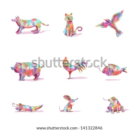 animals vector in farm colorful