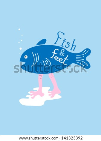 fish and feet vector