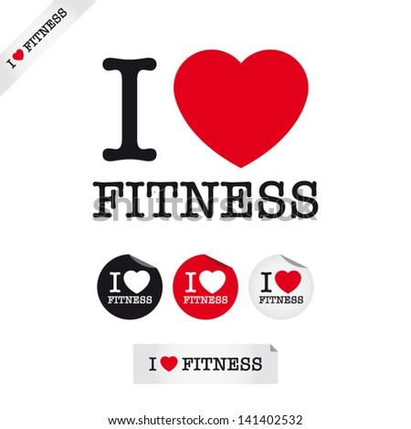 i love fitness  font type with