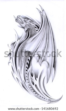 art dragon tattoo hand drawing