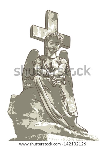 sad angel and cross vector