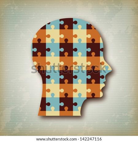 puzzle profile over vintage