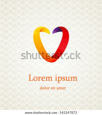 abstract colored heart sign on