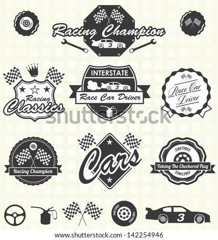 vector set  retro race car