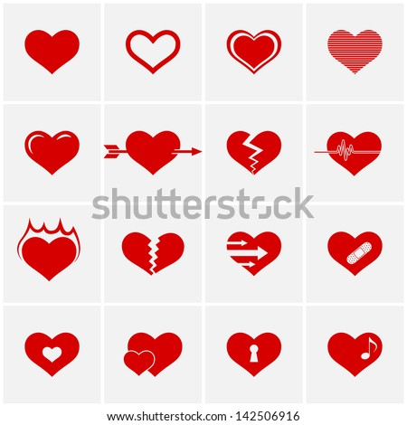 heart icon set