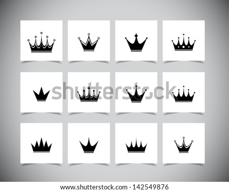set of black simple crowns