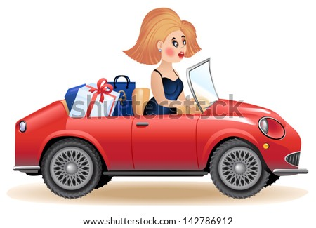 surprised woman driving car