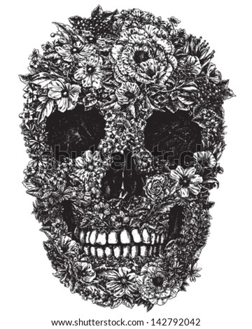 hand drawn skull made of flowers