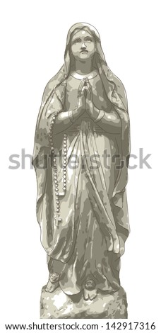 statue maria with beads vector
