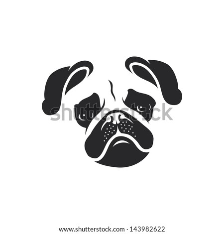 pug dog face   vector